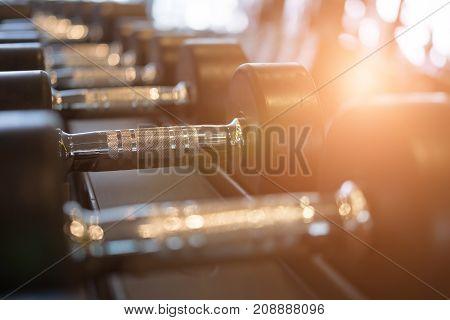 Row Of Dumbbells In Gym. Black Dumbbell Set In Sport Fitness Center.