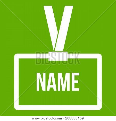 Plastic Name badge with neck strap icon white isolated on green background. Vector illustration