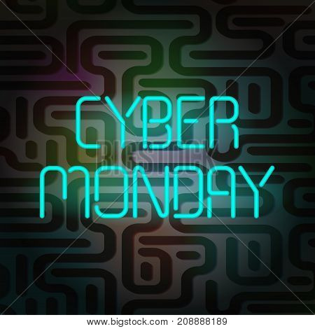 Cyber Monday Poster. Neon text on a white background. This picture can be used for special offers, online sales and web promotion.