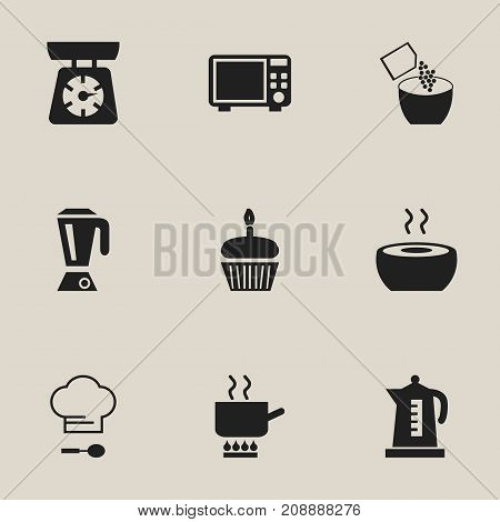 Set Of 9 Editable Cooking Icons. Includes Symbols Such As Muffin, Soup, Cooking Pot And More