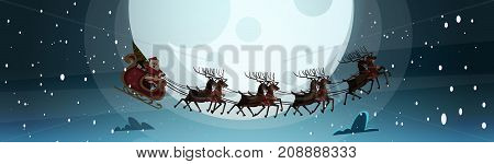 Santa Flying In Sledge With Reindeers In Night Sky Over Moon, Merry Christmas And Happy New Year Banner Winter Holidays Concept Flat Vector Illustration