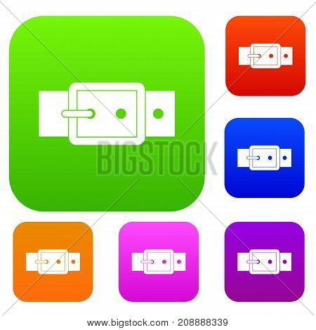 Black buckle belt set icon color in flat style isolated on white. Collection sings vector illustration