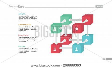 Creative cube diagram slide template. Element of chart, infographic, template. Concept for presentation, brochure, booklet. Can be used for topics like business, finance, marketing, strategy