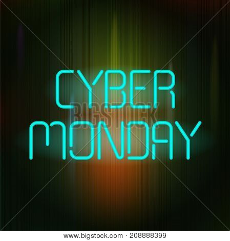 Cyber Monday Banner with neon text on a dark background. This illustration can be used for special offers, online sales and web promotion.