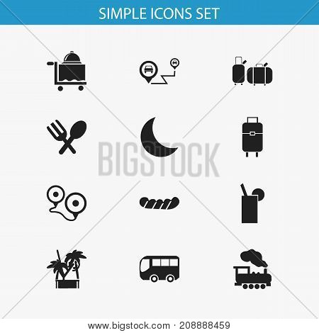 Set Of 12 Editable Trip Icons. Includes Symbols Such As Bratwurst, Suitcases, Gps And More