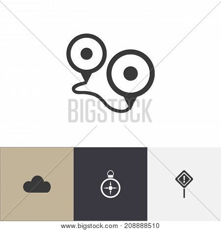 Set Of 4 Editable Journey Icons. Includes Symbols Such As Overcast, Destination, Caution And More