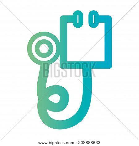 line stethoscope instrument to cardiologist equipment vector illustration