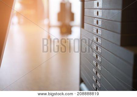 Fitness Facility Center, Gym Interior, Health Club With Sports Training Equipment For Aerobic Exerci