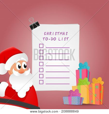 Christmas To-Do List Illustration. Picture with Santa Claus and gift boxes.
