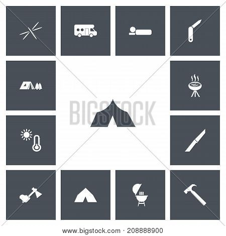 Set Of 13 Editable Trip Icons. Includes Symbols Such As Bedroll, Clasp-Knife, Tepee And More