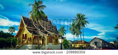 Haw Pha Bang buddhist temple located in the grounds of the Royal Palace Museum in Luang Prabang Laos