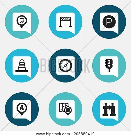 Set Of 9 Editable Navigation Icons. Includes Symbols Such As Magnet Navigator, Street Construction, Spyglass And More