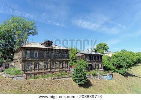 Nizhny Novgorod, Russia. - June 30.2016. Old residential building on Grebeshkovsky escarpment 11. A dilapidated wooden building