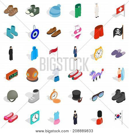 Mode icons set. Isometric style of 36 mode vector icons for web isolated on white background