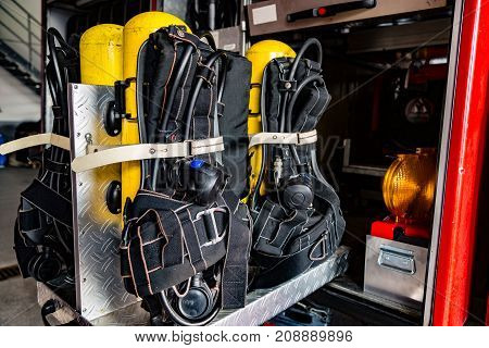 Oxygen Tanks in firefighter truck in detail