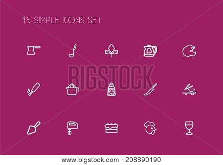 Set Of 15 Editable Meal Outline Icons. Includes Symbols Such As Cock, Noodles Bowl, Juicer And More