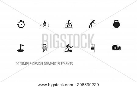 Set Of 10 Editable Sport Icons. Includes Symbols Such As Bicycle Rider, Basketball, Flag And More