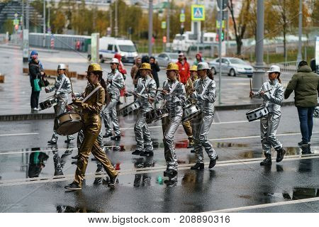 Moscow, Russia, 14 October 2017: Carnival Parade In Moscow Dedicated To The 19Th World Youth Day And