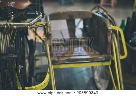 Retro Tricycle. Vintage Trishaw. Traditional Rickshaw.