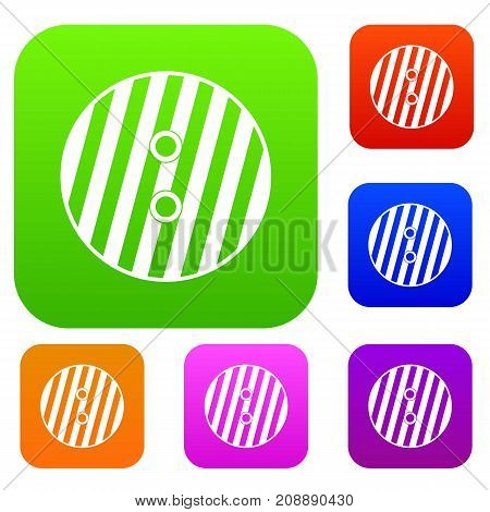 Striped sewing button set icon color in flat style isolated on white. Collection sings vector illustration