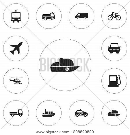 Set Of 12 Editable Transportation Icons. Includes Symbols Such As Helicopter, Vessel, City Drive And More