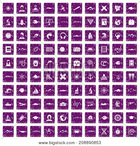 100 oceanologist icons set in grunge style purple color isolated on white background vector illustration