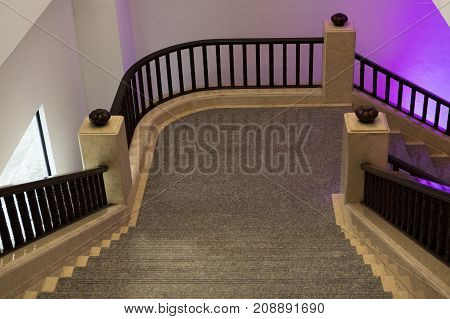 Elegant Stairway Interior Architecture.  Classic Staircase.  Stair In Hotel.