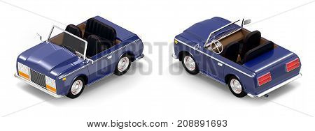 Luxury car cabriolet in cartoon style isometric view vintage 70s. 3d illustration