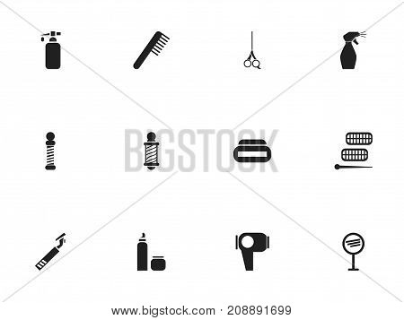 Set Of 12 Editable Tonsorial Artist Icons. Includes Symbols Such As Comb, Spray, Beautician And More
