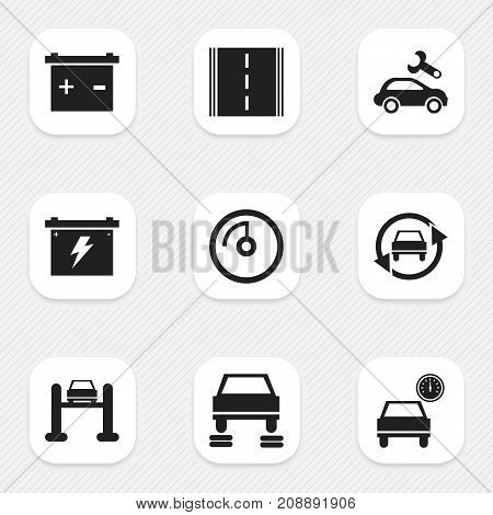 Set Of 9 Editable Vehicle Icons. Includes Symbols Such As Tuning Auto, Battery, Automobile And More