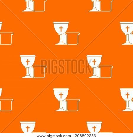 Bowl and bread pattern repeat seamless in orange color for any design. Vector geometric illustration