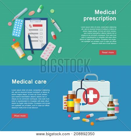 Medical equipment prescription first aid supplies flyer. Medical equipment for prescriptions and first-aid kit as infographic. ER tools as vector illustration.