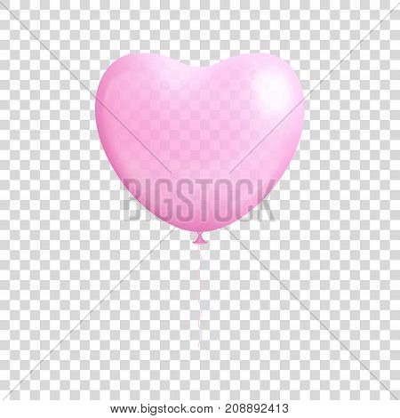 Heart shaped balloon transparent isolated. Heart shaped balloon transparent isolated on a transparent background for designers and illustrators. Romantic surprise in the form of a vector illustration