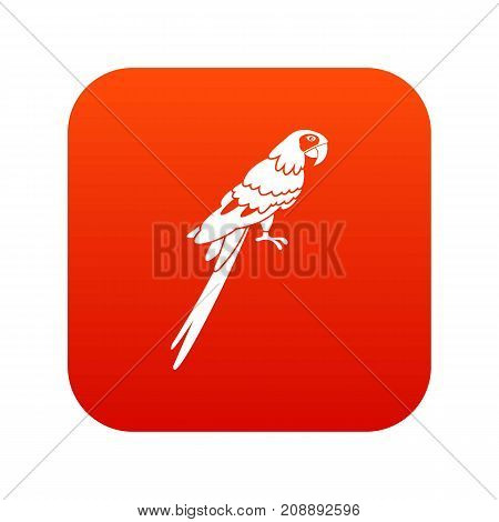 Brazilian parrot icon digital red for any design isolated on white vector illustration