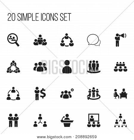 Set Of 20 Editable Cooperation Icons. Includes Symbols Such As Team, Agreement, Group And More