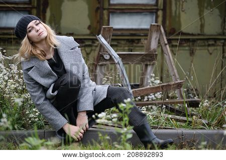 Pretty Young Caucasian Girl Fashion Dress Outdoor
