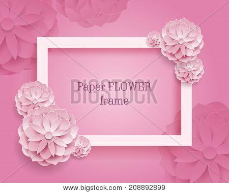 Paper flower rectangular frame pink background. Paper flower rectangular frame on a pink background. Set of color plants as a vector illustration