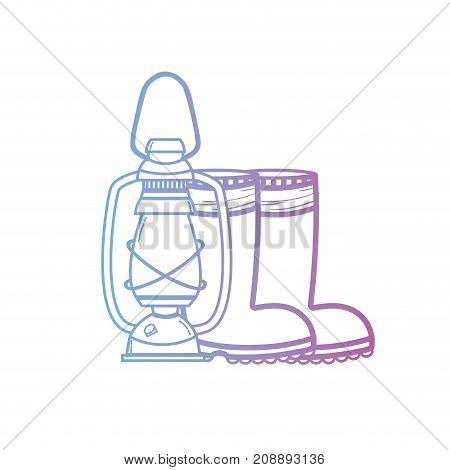 line fishing tool old lamp hand and boots vector illustration