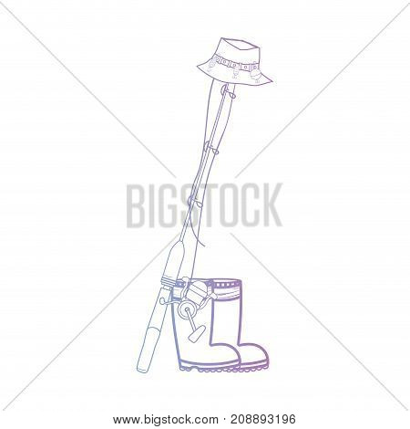 line fishing tool with boots and sincast with hat vector illustration