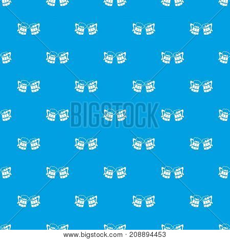 Wooden beer mugs pattern repeat seamless in blue color for any design. Vector geometric illustration