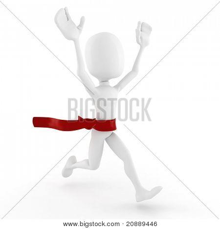 3d man winnes, on white background