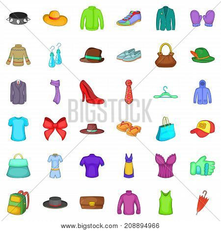 Sweater icons set. Cartoon style of 36 sweater vector icons for web isolated on white background