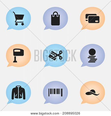 Set Of 9 Editable Trade Icons. Includes Symbols Such As Loan Card, Scissors, Stir And More