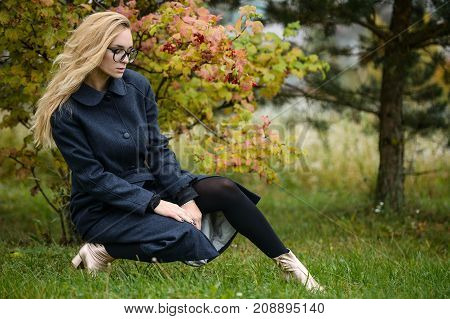 Pretty Young Caucasian Girl Fashion Dress Outdoor