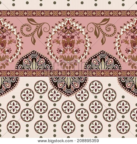 Vector seamless border with decorative ethnic elements. Moroccan