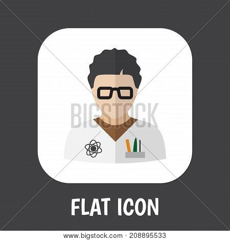 Vector Illustration Of Occupation Symbol On Physicist Flat Icon