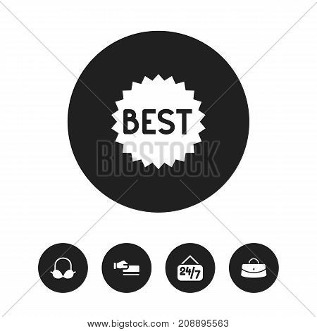 Set Of 5 Editable Business Icons. Includes Symbols Such As Reticule, Open Everyday, Badge And More