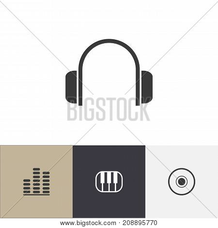 Set Of 4 Editable Mp3 Icons. Includes Symbols Such As Piano, Frequency, Earphone And More