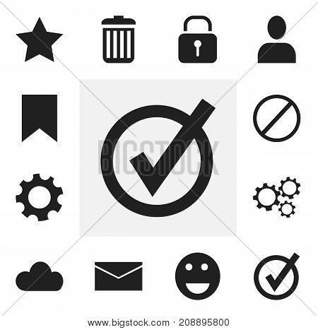 Set Of 12 Editable Internet Icons. Includes Symbols Such As Profile, Bookmark, Recycle Bin And More