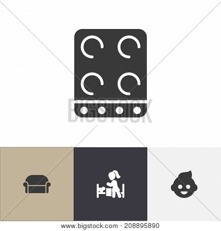 Set Of 4 Editable Kin Icons. Includes Symbols Such As Sleeping Daughter, Canape, Baby And More